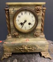 Pendule XIXeme Ancienne Marbre Napoléon III Empire Horloge Mouvement Onyx