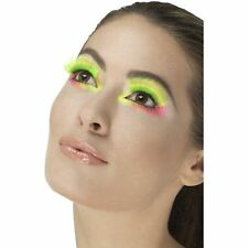 Neon Green 80's Party Eyelashes Retro Kylie Womens Ladies Fancy Dress Accessory