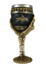 "Gothic-Style Hand-Bone Wine Chalice Goblet - 7 1/2"" - 6 oz Intricately Detailed"