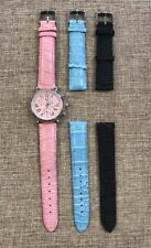 Michele Urban Stainless Steel Pink Face Watch With 3 Changeable Bands