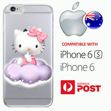 iPhone 6 6S Silicone Case Cover Hello Kitty Cute Cloud Pink Bow Cat Anime AUS
