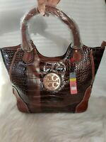 "Authentic TORY BURCH ""Amanda Zip"" LRG Brn/Tan Faux Alligator Leather & Patent"