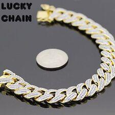 "18K GOLD FINISH ICED OUT LAB DIAMOND CUBAN LINK BRACELET 8.2""x14mm 67g PC64"