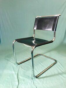 Thonet S33 Leder Schwarz Stahlrohr Freischwinger Krag Stuhl Chair Breuer Stam