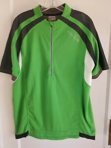 ENDURA Mens Cycling Jersey Size Large Green 3 back storage Pockets and 1 Zip.