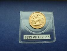 More details for 1893 victoria veiled head gold half sovereign 22 carat london mint.