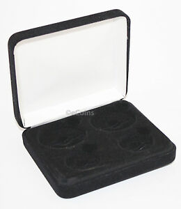 Black Felt COIN DISPLAY GIFT METAL PLUSH BOX for 2-Quarters plus 2-IKE/ASE