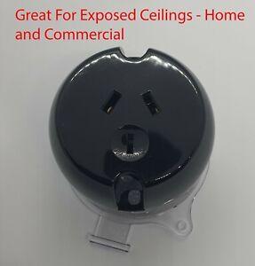 6x Black Plug Base Surface Socket Power Outlet 10Amp 240V 3PIN-LED Downlight Fan