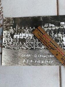 Old vintage long photograph boy scouts camp Ockanickon Quakertown, Pennsylvania