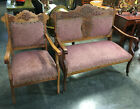 Antique Loveseat And Chair Set parlor carved wood dog head LOCAL PICKUP ONLY