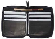 Large Genuine Leather Zipper Zip-Around Credit Card Secure Mens Wallet Black