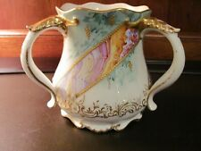 RARE LIMOGES Hand Painted Three Handled Loving Cup Over 100 Years Old