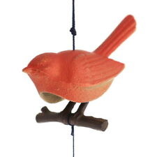 Japanese Furin Wind Chimes Nambu Cast Iron Red Songbird/ Branch/Made in Japan