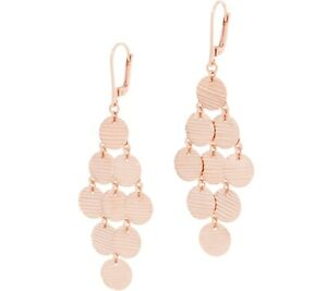 Textured Circle Disc Chandelier Dangle Earrings 14K Rose Gold Clad Silver QVC