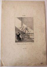 """Lithographie, J.B. ISABEY, """"Bénitier de la basilique de Saint-Pierre """""""