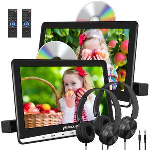 2x 10.1'' HD Dual Screen Car Headrest DVD Player USB Rear-Seat Monitor+Headsets
