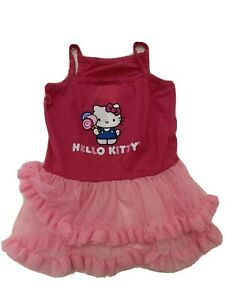 Hello Kitty Dog dress in Pink with ruffled skirt and tshirt top EUC