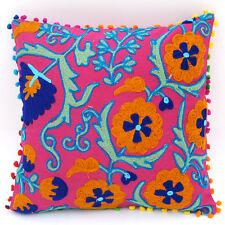 "16x16"" Uzbekistan Pillowcase Suzani Cushion Cover Hand Embroidered Home Decor C1"