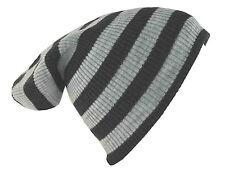 "D&Y Men's Long Beanie Two Tone Stripe Coordinate Knit Hat 12"" Gray"