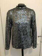 Topshop Silver Sequin Long Sleeve High Neck Top Size 10