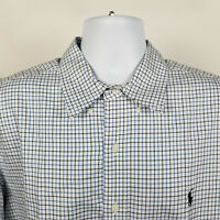 Ralph Lauren Classic Fit Blue Black Check Mens Dress Button Shirt Size XL