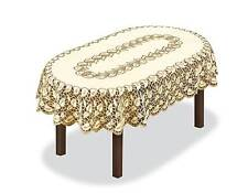 "Tablecloth oval, lace, cream/dark gold NEW 51"" x 71"" (130 x 180cm) X'mas gift"