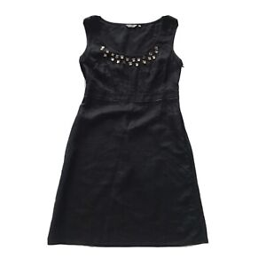 M&S PER UNA Sleeveless Midi Dress Black Linen with Beading UK 12 G8