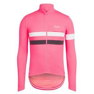 NEW Rapha Men's Cycling Jersey XL Brevet Pink White Long Sleeve RCC Hi Vis