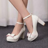 Womens Bow Ankle Straps Platform Pumps Chunky High Heels Shoes Mary Janes Buckle