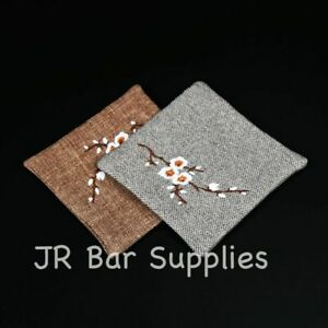 Newest 100% Pure Linen Coasters Set Of 4 Bar Kitchen For Drinks 4 X 4 Inch Size