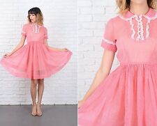 8Vintage 50s Pink Dress White Polka Dot Print Lace Sheer Cocktail Party Full S