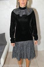 jolie dress robe colerette en velours noire modulable  PIERRE CARDIN taille 38