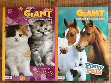Coloring & Activity Giant Books Set Horse & Cat Bendon Tear & Share Pages