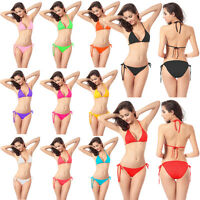 Sexy Adjustable Swimwear Set Bikini Push-up Halter Top+Bottom Swimsuit-11 Colors