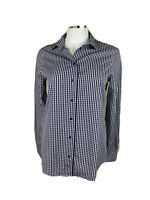 Massimo Dutti Size 6 Blue & White Checked Long Sleeved Button Up Collared Shirt