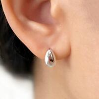 Solid 925 Sterling Silver Shiny Dome Water Drop Pearl Teardrop Stud Earrings