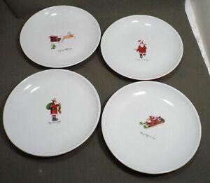 """Lot/4 Oneida Little St Nick Salad Dessert Plates 7 5/8"""" Christmas Santas"""