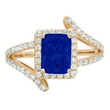 2.10 ct Emerald Halo Blue Sapphire Promise Bridal Wedding Ring 14k Yellow Gold