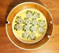 Vintage Glazed Porcelain Hand Painted Daisy Flower Ashtray Collectible Tobaccian