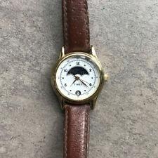 Timex Vintage Sun Moon Phase Ladies Women Wrist Watch Date Gold Easy Read D2