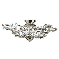 Searchlight 16 Lights Brass Floral Glass Semi Flush Ceiling Fitting Chandelier