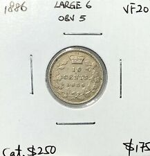 Canada 1886 Large 6 Obverse 5 Ten Cent Silver 10 Cents VF