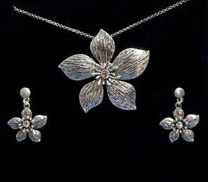 Chunky Lagenlook Flower Statement Necklace & Earrings Set -  BNIB (SN1s)