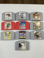 Nintendo 64 N64 10 Game Lot Sports Bundle - All Authentic Cleaned & Tested Carts