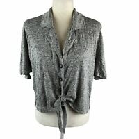 Honeydew Women's Size Small Gray Dolman Front Tie Top