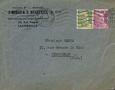 """MARSEILLE RUE FLEGIER ENVELOPPE """" ETS MERLE & MENETRIER """" 1956"""