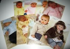Lot of 9 Sirdar SNUGGLY BUBBLY dk knitting yarn patterns for Birth to 7 years