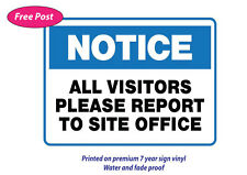 Visitor report to site office sticker water&fade proof safety oh&s 7 year vinyl
