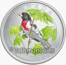 Canada 2012 Colorful Birds Rose Breasted Grosbeak 25 Cent Color Specimen Quarter