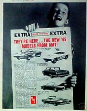 1964 AMT Extra~Extra They're Here 1965 Model Car Kits Corvette~Cuda Toy Promo AD